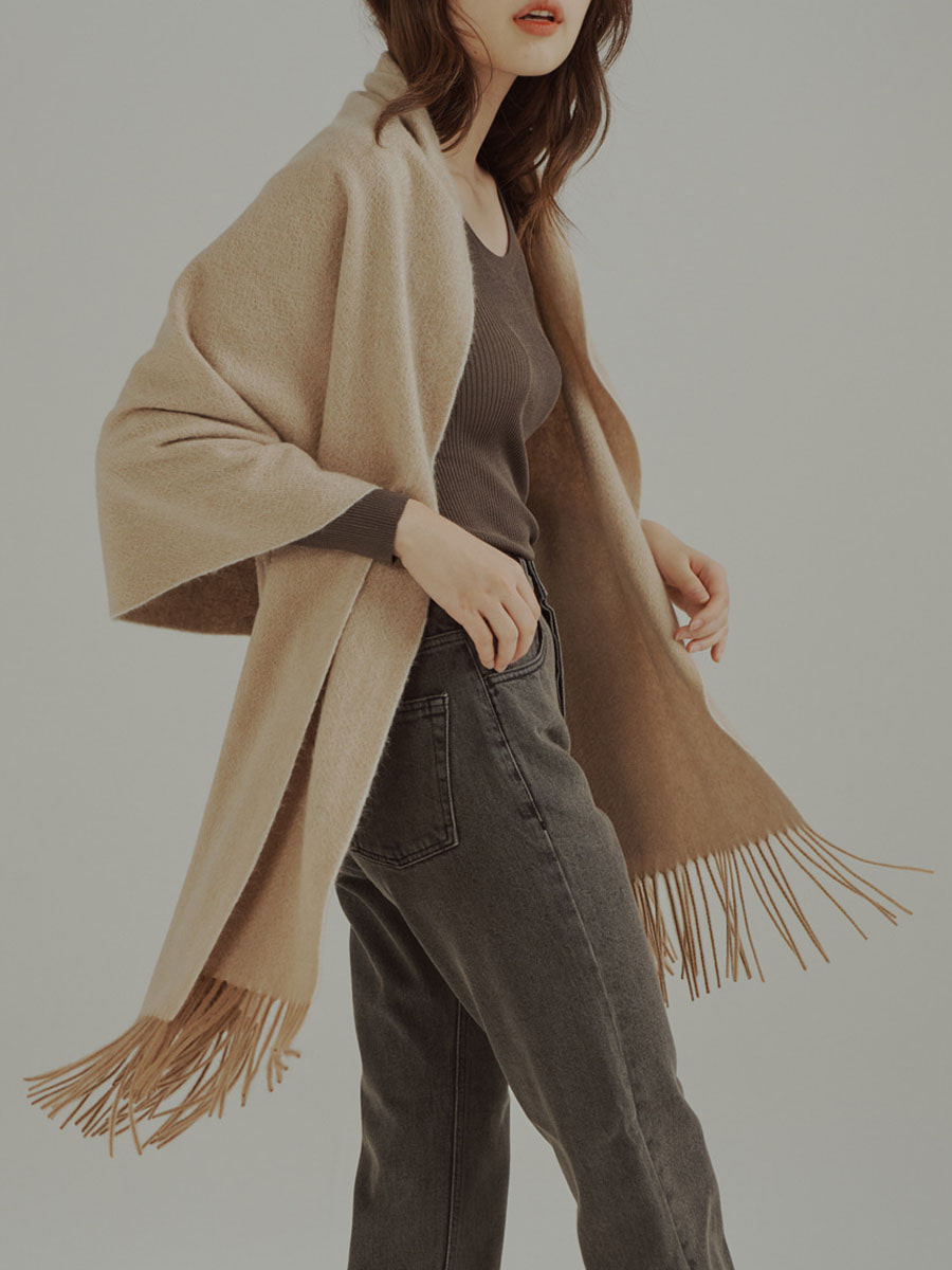 Cashmere Wide Long Muffler Beige
