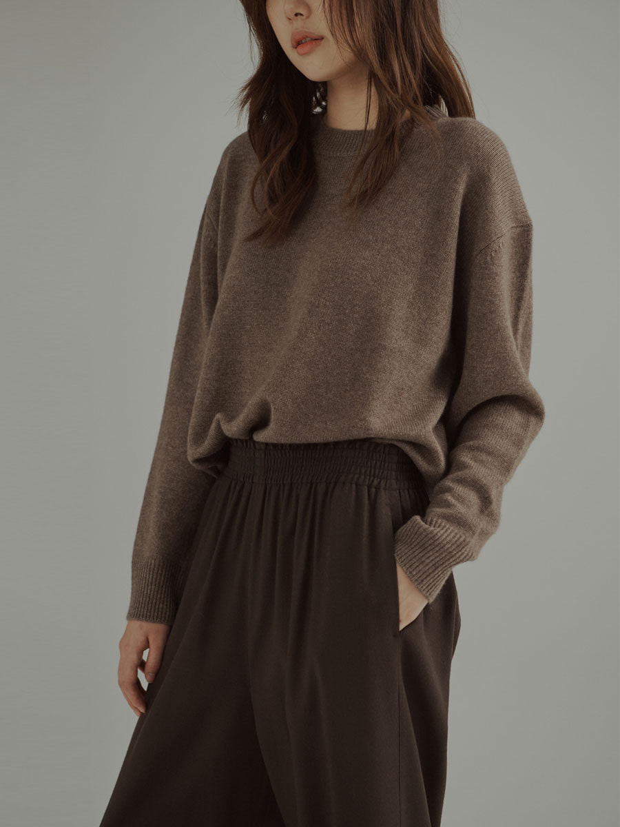 Banded Waist Wool Blend Trousers Brown