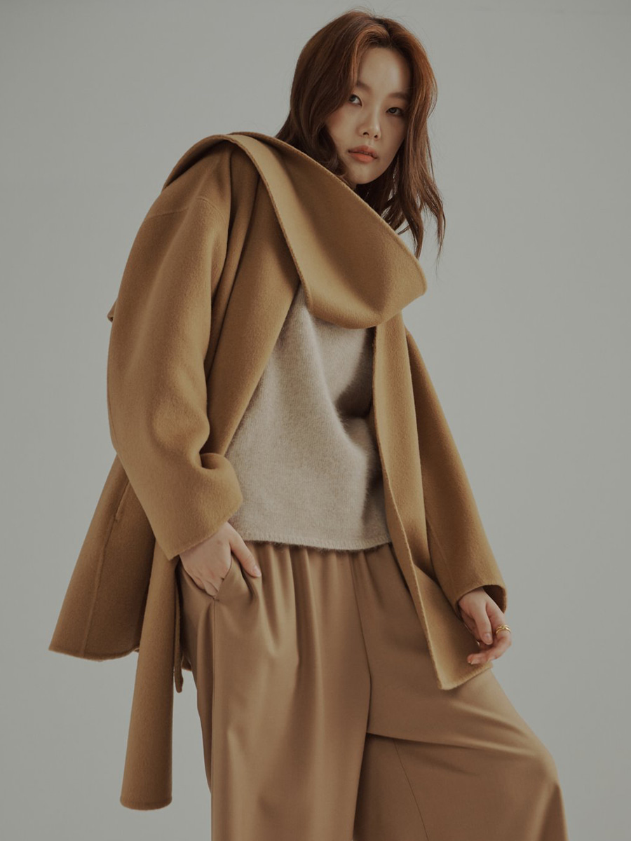 Cashmere Wool Double Face Shawl collar Coat (카멜)