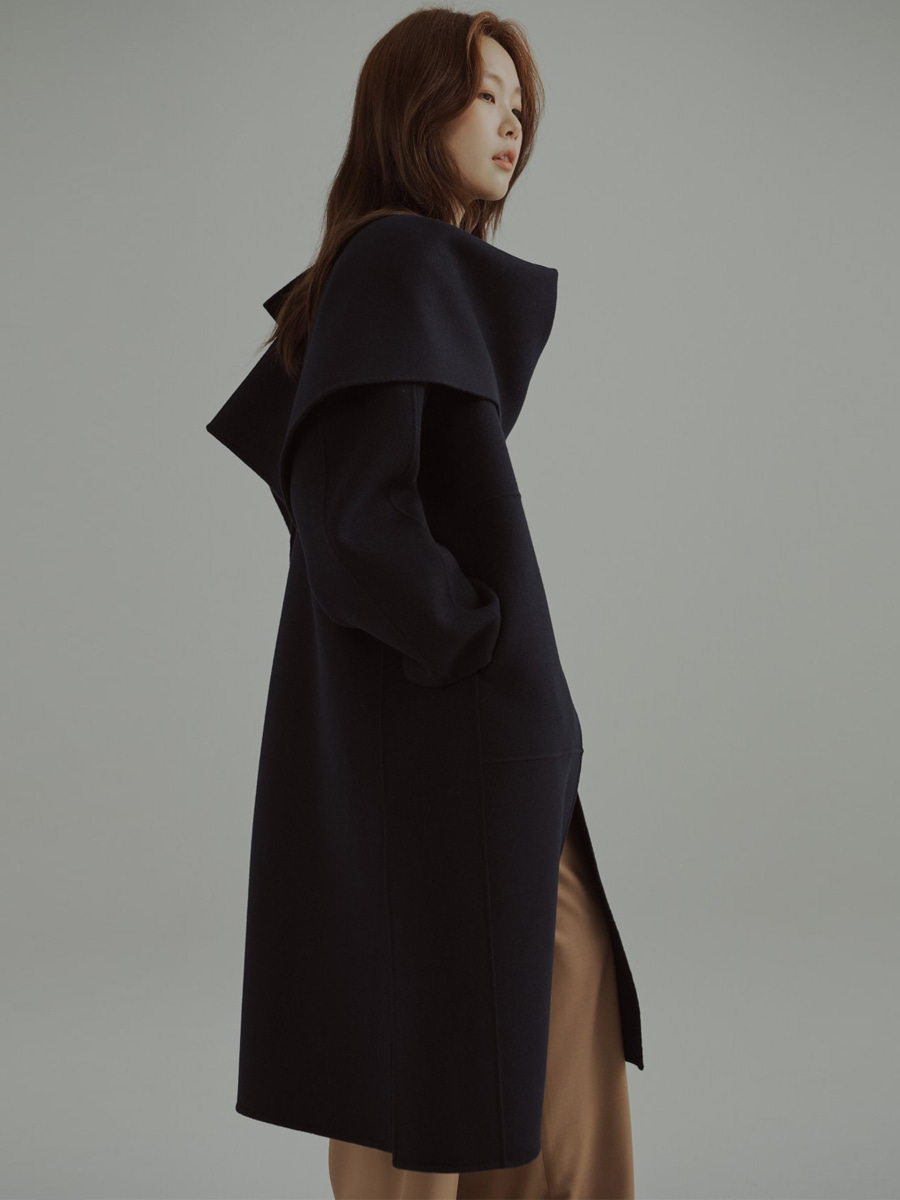 Cashmere Wool Double Face Coat Navy with Shawl (네이비)