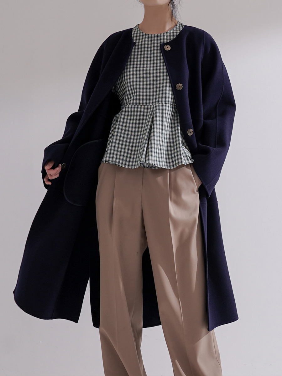 Cashmere Wool Double Face Coat/ Navy (with Shawl)