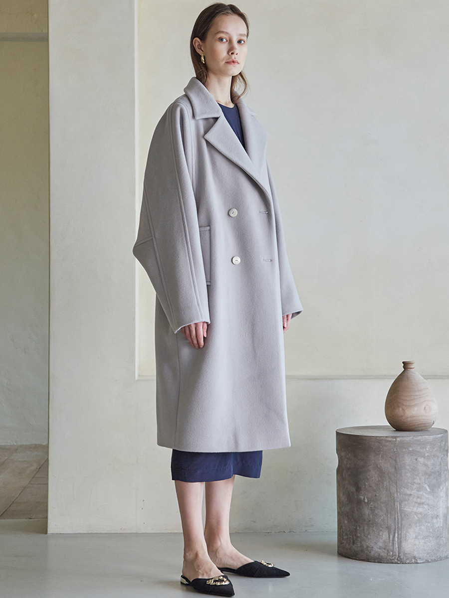OVERFIT DOUBLE BUTTON WOOL COAT (라이트 그레이) [30% SALE]