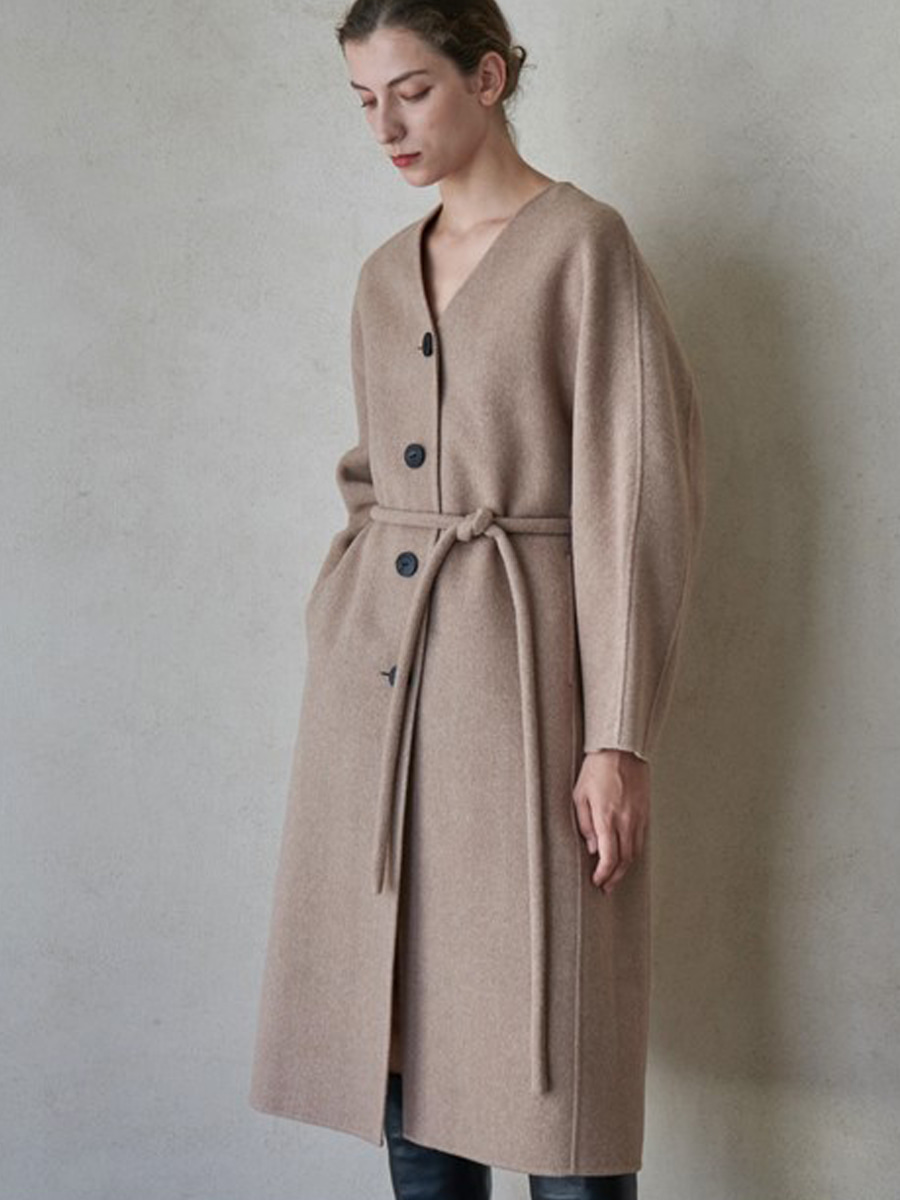 PLUMP BELT COAT_MELANGE BEIGE [30% sale]