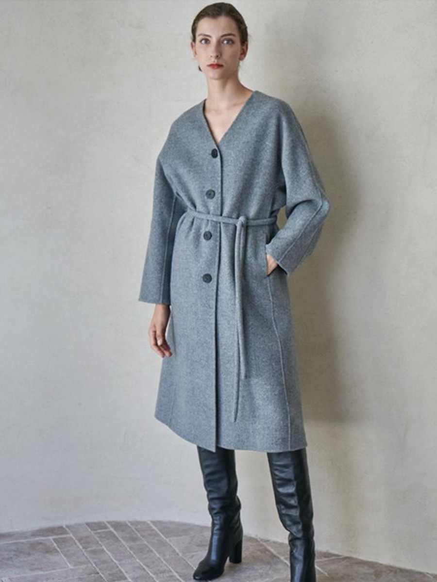 PLUMP BELT COAT_MELANGE GRAY [30% SALE]