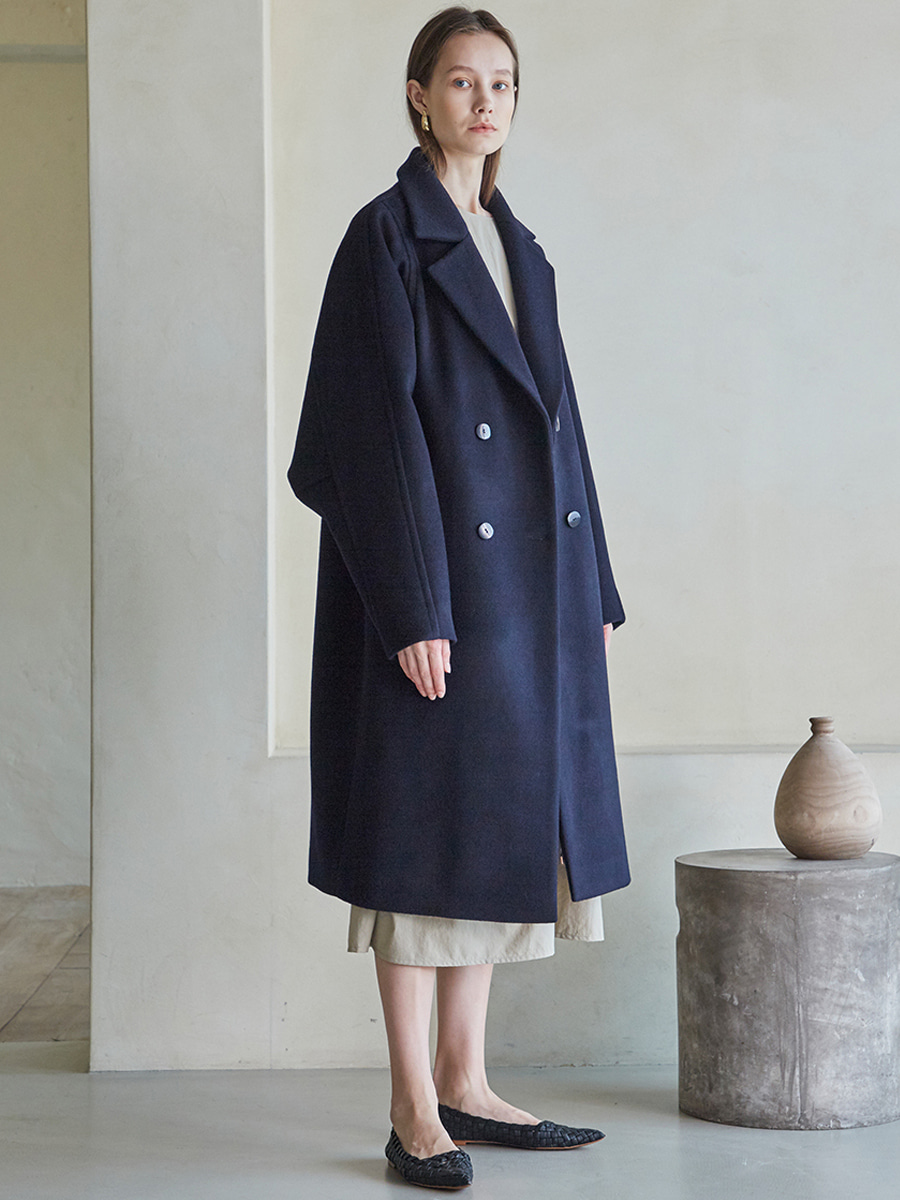 OVERFIT DOUBLE BUTTON WOOL COAT (다크 네이비) [30% SALE]