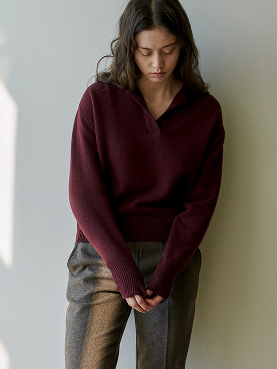 Air Wool Crop Pullover (Burgundy) [20% SALE]