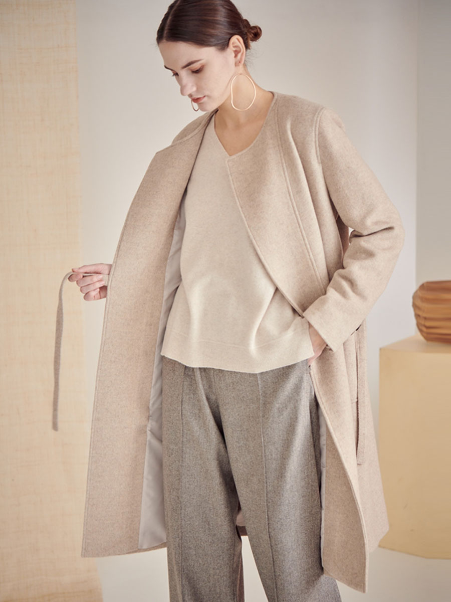 COLLARLESS CLEAN COAT_WHEAT [30% SALE]