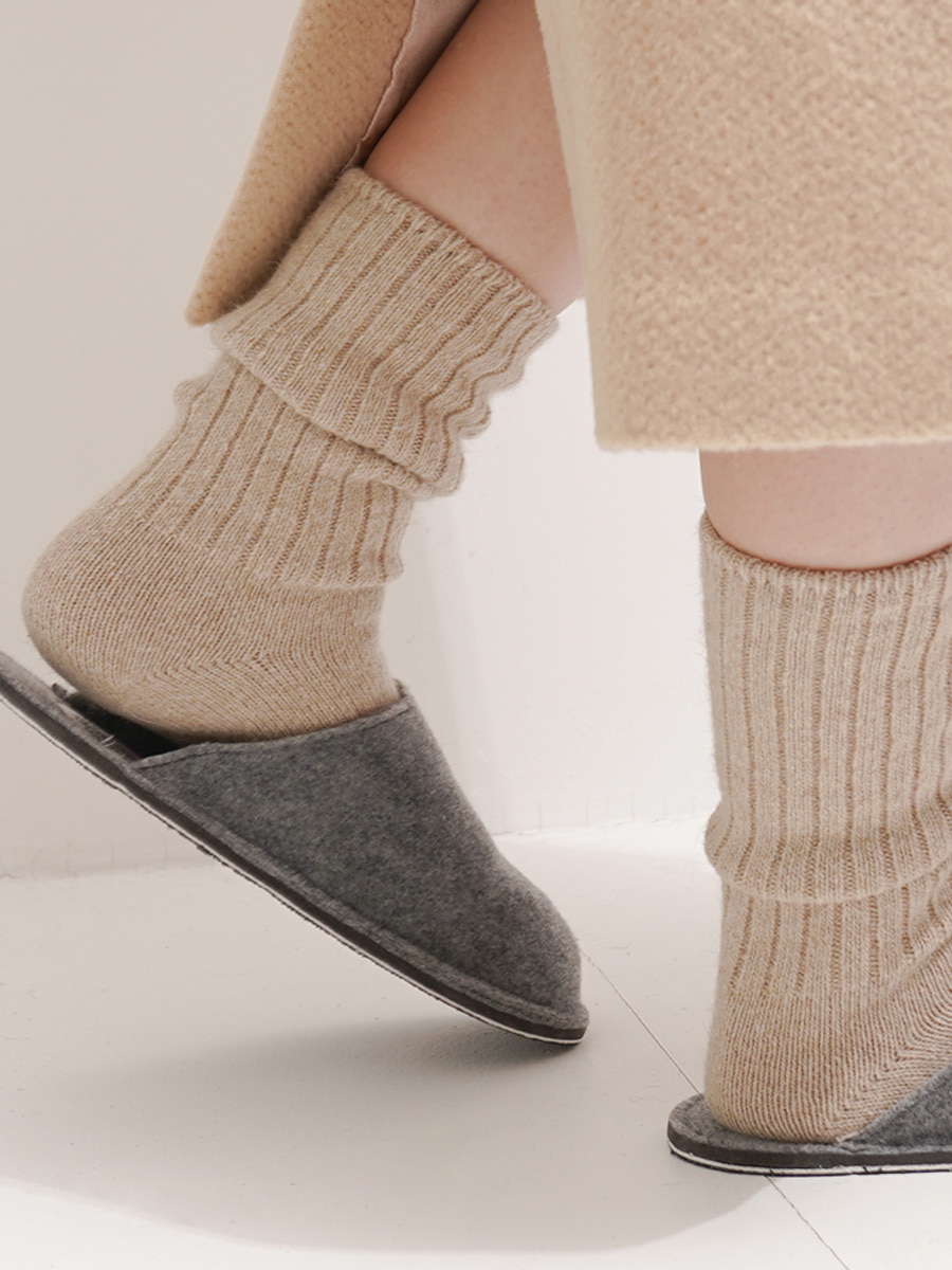 Angora knit socks / Cream Beige