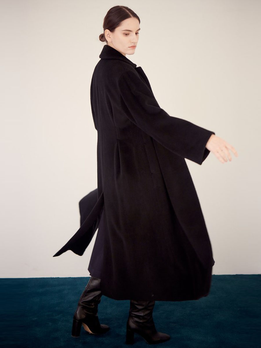 F.BOX PLEATED COAT_BLACK [30% SALE]