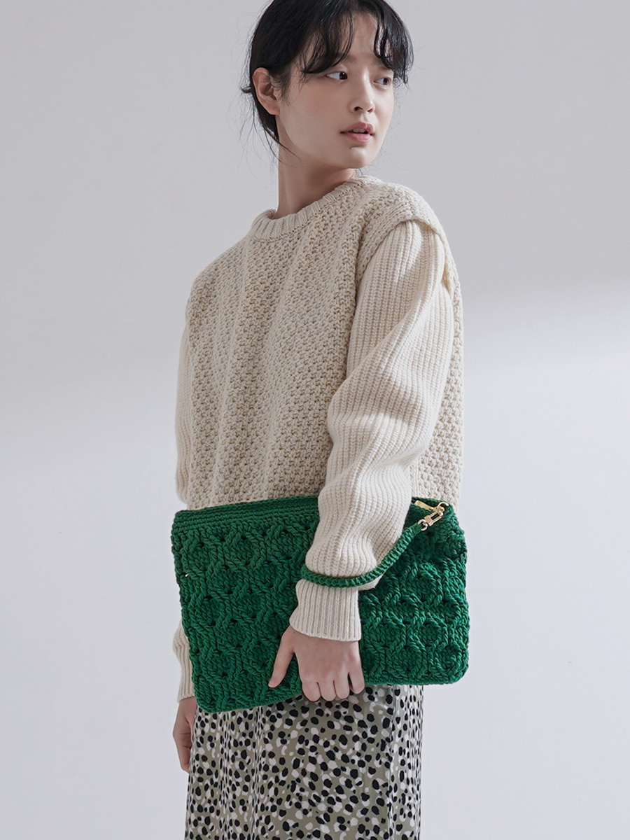 Weaving Clutch / Green [10% SALE]