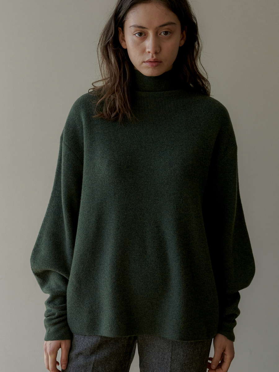 Soft Wool Mockneck Pullover (Deep Green) [20% SALE]