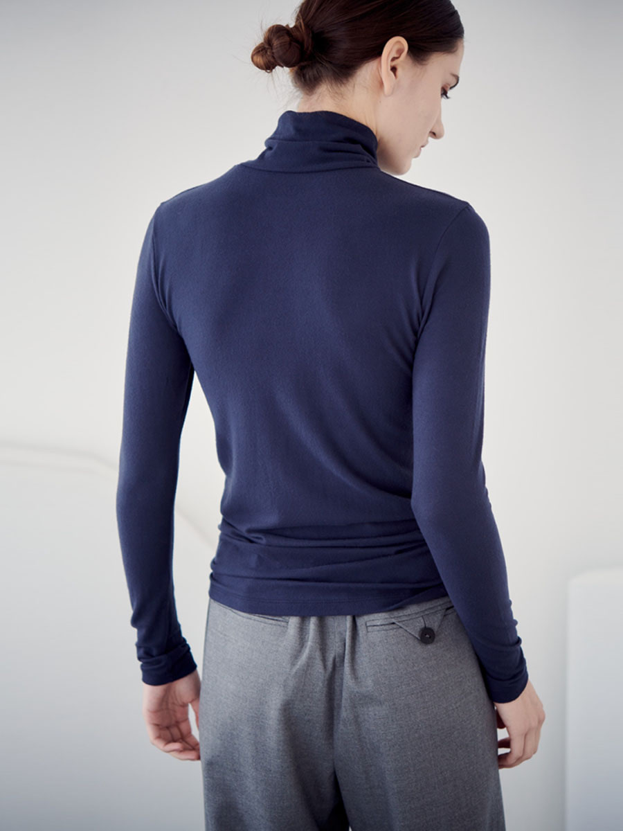 FLUFFY TURTLE NECK T-SHIRT_NAVY [30% SALE]