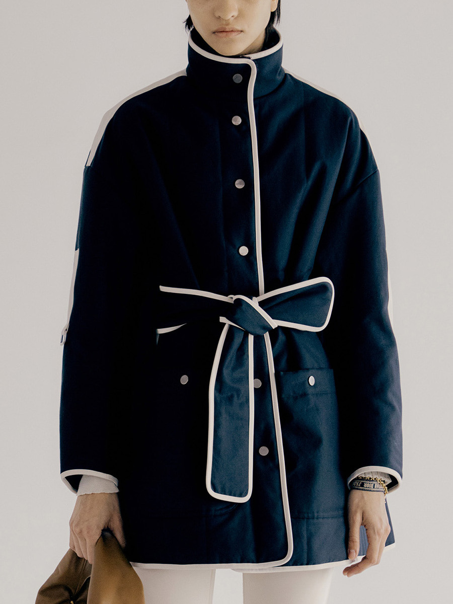 Calee Padded Coat_Navy