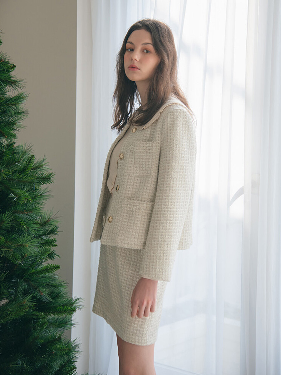 JANE TWEED JACKET_WHITE [20% SALE]