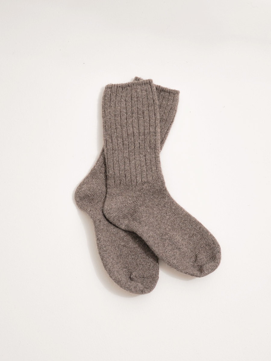Angora knit socks / moca brown
