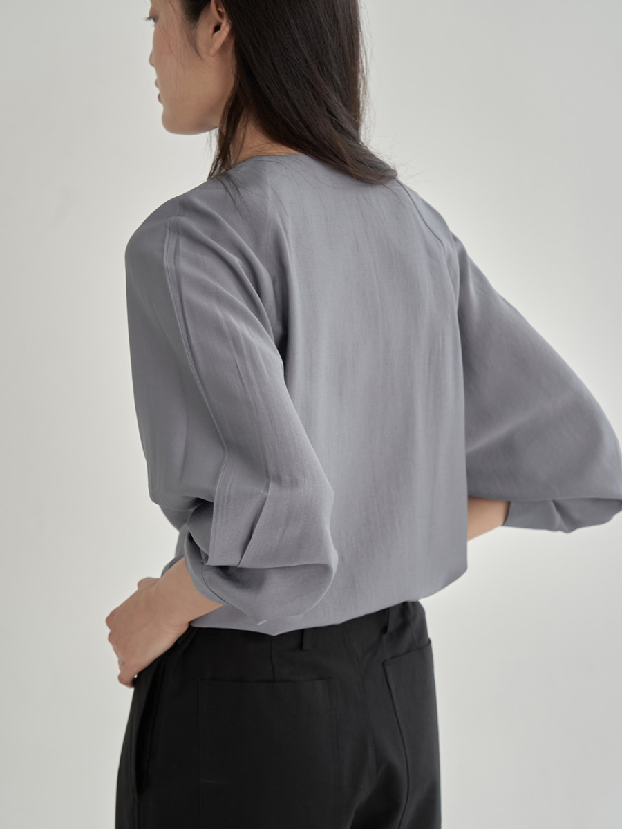 FUJIETTE RAYON BLOUSE (BLUE GRAY)